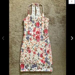 Pink Floral Tweed Boucle Poms Sparkle Dress M